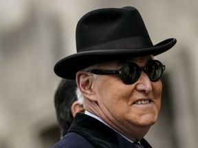 Roger Stone arrives at a courthouse in Washington, D.C., Feb. 2020