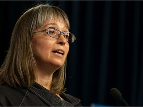 Alberta chief medical officer of health Dr. Deena Hinshaw gives a COVID-19 pandemic update from the media room at the Alberta legislature in Edmonton on July 28, 2021.