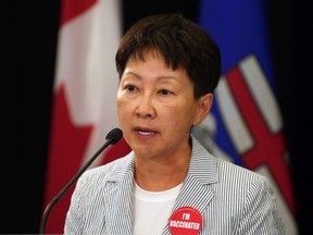 Dr. Verna Yiu, president and CEO of Alberta Health Services, speaks at an update on Alberta's COVID-19 situation on Thursday Sept. 9, 2021 in Edmonton. The province has recorded more than 1,500 new COVID-19 infections in the last 24 hours.