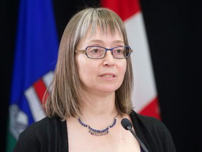 Alberta's chief medical officer of health Dr. Deena Hinshaw provides an update on the province's response to the fourth wave of the COVID-19 pandemic, during a press conference in Edmonton, Wednesday, Sept. 15, 2021.