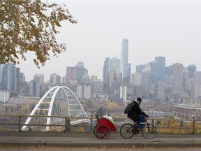 Smoke hangs over the downtown core as smoke drifts in from fires in northern Saskatechewan on Tuesday, Oct. 5, 2021 in Edmonton.   Greg Southam-Postmedia