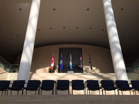 City crews set up for the official swearing in Tuesday for Edmonton's new city council.
