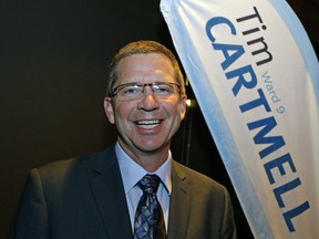 Tim Cartmell was all smiles after delivering his victory speech in the Edmonton municipal election on Oct. 16, 2017.