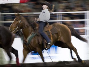 Taylor Manning, 13, celebrates her first place 14.643 finish at the Canadian Finals Rodeo on Saturday November 11, 2017, in Edmonton.