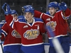 Edmonton's Colton Kehler (centre) celebrates a goal on Victoria's goaltender Griffen Outhouse during the second period of a WHL game between the Edmonton Oil Kings and the Victoria Royals at Rogers Place in Edmonton, Alberta on Wednesday, October 18, 2017. Photo by Ian Kucerak Photos for copy in Thursday, Oct. 19 edition.  Full Full contract in place Ian Kucerak, Ian Kucerak/Postmedia