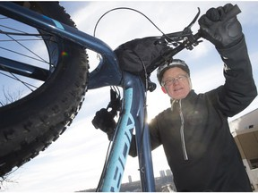 Sun Columnist Lorne Gunter with the loaner Norco Sasquatch fat bike on January 18, 2018 in Edmonton.   Photo by Shaughn Butts