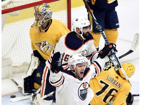 Edmonton Oilers center Mark Letestu (55) celebrates after apparently scoring against the Nashville Predators on Tuesday, Jan. 9, 2018, in Nashville, TN. The goal was disallowed after a challenge on a player being offside. The Predators won 2-1.