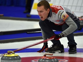 Skip Brendan Bottcher calling to his sweepers while playing Team Vavrek during the 2018 Boston Pizza Cup Alberta men's curling championship at Grant Fuhr Arena in Spruce Grove on Jan. 31, 2018