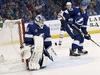Tampa Bay Lightning goaltender Louis Domingue (70) makes a save during the third period of an NHL hockey game against the Edmonton Oilers Sunday, March 18, 2018, in Tampa, Fla. (AP Photo/Jason Behnken) ORG XMIT: FLJB118