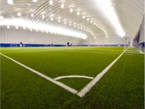 Artist's rendering of the Edmonton Soccer Dome, which is slated to open on the Edmonton Scottish United soccer grounds in August 2018.