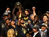 CLEVELAND, OH - JUNE 08:  Stephen Curry #30 of the Golden State Warriors celebrates with the Larry O'Brien Trophy after defeating the Cleveland Cavaliers during Game Four of the 2018 NBA Finals at Quicken Loans Arena on June 8, 2018 in Cleveland, Ohio. The Warriors defeated the Cavaliers 108-85 to win the 2018 NBA Finals. NOTE TO USER: User expressly acknowledges and agrees that, by downloading and or using this photograph, User is consenting to the terms and conditions of the Getty Images License Agreement.  (Photo by Justin K. Aller/Getty Images) *** BESTPIX ***