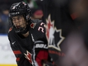 Team Canada's Dylan Cozens (22) faces Team Switzerland at the 2018 Hlinka Gretzky Cup at Rogers Place, in Edmonton Monday Aug. 6, 2018.