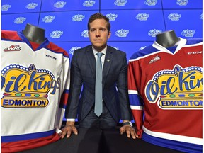 Kirt Hill, president of hockey operations and general manager for the Edmonton Oil Kings during a news conference at Roger Place in Edmonton, June 27, 2018.