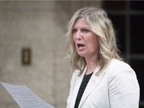 Liberal MP Leona Alleslev rises in the House of Commons in Ottawa on Friday, June 17, 2016. An Ontario Liberal MP is crossing the floor of the House of Commons to join the Opposition Conservatives, saying Canada needs strong leadership on the economy and global issues. Leona Alleslev made the stunning announcement as MPs returned to Ottawa following their summer break.