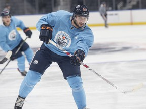 Tobias Rieder skates at Roger Place in preparation for training camp.