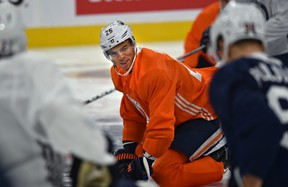 After finalizing his contract, Edmonton Oilers defenceman Darnell Nurse attends his first practice session during training camp at Rogers Place in Edmonton, September 18, 2018. Ed Kaiser/Postmedia