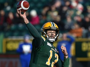 Edmonton Eskimos quarterback Mike Reilly (13) airs one out against the Winnipeg Blue Bombers during CFL action in the last game of the season at Commonwealth Stadium in Edmonton, November 3, 2018. Ed Kaiser/Postmedia