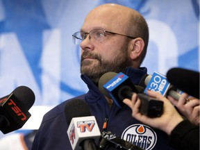 Edmonton Oilers president of hockey operations and general manager Peter Chiarelli speaks to the media about the team's recent trades in Edmonton on Dec. 31, 2018.