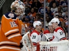 Edmonton Oilers' goalie Mikko Koskinen (19) looks on as the Carolina Hurricanes celebrate a second period goal during NHL action at Rogers Place, in Edmonton Sunday Jan. 20, 2019. Photo by David Bloom