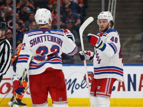 New York Rangers' Brendan Lemieux (48) celebrates a goal on the Edmonton Oilers with Kevin Shattenkirk (22) during the second period of a NHL game against the Edmonton Oilers at Rogers Place in Edmonton, on Monday, March 11, 2019.