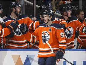 Edmonton Oilers' Ryan Nugent-Hopkins (93) celebrates his hat trick against the Los Angeles Kings during first period NHL action in Edmonton, Alta., on Tuesday March 26, 2019.