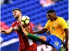Canada's forward Lucas Cavallini (L) and French Guiana's defender Gregory Lescot vie for the ball during their 2017 Concacaf Gold Cup Group A match at the Red Bull Arena in Harrison, New Jersey, on July 7, 2017.  / AFP PHOTO / Jewel SAMADJEWEL SAMAD/AFP/Getty Images