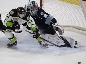 Edmonton Oil KIngs Carter Souch (44) can't get the puck past Kootenay Ice goaltender during WHL action on Sunday, March 10, 2019, in Edmonton.