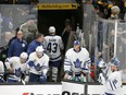 Toronto Maple Leafs center Nazem Kadri (43) leaves the ice after being ejected during the third period of Game 2 of an NHL hockey first-round playoff series against the Boston Bruins, Saturday, April 13, 2019, in Boston.