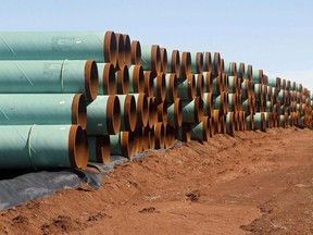 Miles of pipe for the stalled Canada-to-Texas Keystone XL pipeline are stacked in a field near Ripley, Okla., in this Feb. 1, 2012 file photo.
