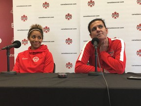 Christine Sinclair, right, and Desiree Scott of the Canadian women's national soccer team answer questions following a training session at the BMO Training Ground in Toronto on May 16, 2019.
