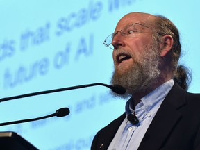 Richard Sutton, a pioneer in artificial intelligence and distinguished research scientist with Google DeepMind and professor of computer science with Amii, speaking during AccelerateAB, an annual technology convention at the Shaw Conference Centre in Edmonton on April 24, 2018.