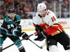 ANAHEIM, CALIFORNIA - APRIL 03:  Carter Rowney #24 of the Anaheim Ducks pushes James Neal #18 of the Calgary Flames during the second period of a game at Honda Center on April 03, 2019 in Anaheim, California. (Photo by Sean M. Haffey/Getty Images)