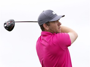 Scott Borsa tees off on the 11th hole during the final round of the Players' Tour RedTail Landing event, in Edmonton on Wednesday Aug. 5, 2015.