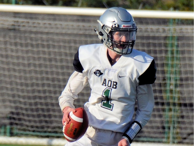 Austin O'Brien Crusaders High School quarterback Sam Kolkman (1) runs with the ball in a game earlier this year. The Crusaders face Holy Trinity Academy of Okotoks in the Alberta Tier 2 provincial final in Raymond, Alta., on Friday, Nov. 22, 2019. Supplied/Sheryl Ogonoski, Austin O'Brien High School
