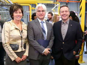 Energy Minister Sonya Savage, Canadian Energy Centre CEO Tom Olsen and Premier Jason Kenney launch the Canadian Energy Centre.
