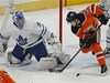 Toronto Maple Leafs goalie Frederik Andersen (left) makes a save on Edmonton Oilers Josh Archibald during second period NHL hockey game action in Edmonton on Saturday December 14, 2019. (PHOTO BY LARRY WONG/POSTMEDIA)
