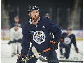 Oilers forward, Zack Kassian practiced on January 13, 2020,before his telephone hearing with the NHL about a fight he had in Calgary over the weekend with Matthew Tkachuk.
