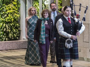To mark Robbie Burns day, an Alberta Tartan gown was unveiled at the Federal Building designed by Michael Kaye Couture and piped in with the designer and Alberta Lt. Gov. Lois Mitchell and her husband Doug Mitchell on January 22, 2020.
