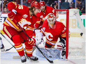 Calgary Flames goaltender Cam Talbot (39) makes a save against the Minnesota Wild during the second period at Scotiabank Saddledome on Jan. 9, 2020.
