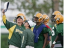 This is a file photo of Edmonton Eskimos head coach Tom Higgins during a practice at Clarke Stadium from August 6, 2004. On Wednesday, he was named defensive co-ordinator of the University of Alberta Golden Bears.