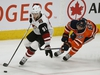 Arizona Coyotes Taylor Hall (left) eludes a check from Edmonton Oilers Sam Gagner during second period NHL hockey game action in Edmonton on Saturday  January 18, 2020. (PHOTO BY LARRY WONG/POSTMEDIA)
