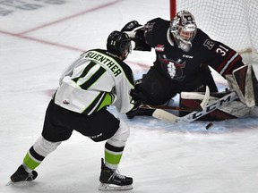 Edmonton Oil Kings Dylan Guenther (11) fires the puck at Red Deer Rebels goalie Ethan Anders (31) during WHL action at Rogers Place in Edmonton, February 7, 2020. Ed Kaiser/Postmedia