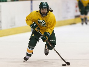 U of A Pandas forward Autumn MacDougall practices with the team at Clare Drake Arena at the University of Alberta in Edmonton, on Thursday, Feb. 20, 2020.