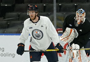 Edmonton Oilers captain Connor McDavid skated at team practice in Edmonton on Thursday February 20, 2020. McDavid has been out of action due to a leg injury. (PHOTO BY LARRY WONG/POSTMEDIA)