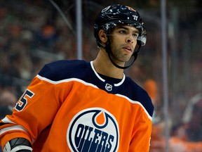 Edmonton Oilers defenceman Darnell Nurse during NHL action on Oct. 16, 2019, against the Philadelphia Flyers.