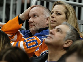 The Edmonton Oilers' fans react to the Calgary Flames' first goal at Rogers Place on Dec. 27, 2019.