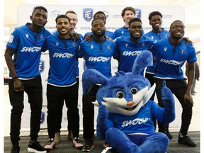 Players introduce FC Edmonton's new home jersey during a team event at West Edmonton Mall, on Thursday, Feb. 27, 2020.