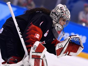 Canada's Shannon Szabados defends her goal during the preliminary round match between Canada and Finland in the Pyeongchang 2018 Winter Olympic Games at the Kwandong Hockey Centre in Gangneung, South Korea, on Feb. 13, 2018.