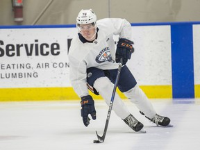 Phil Kemp takes place in the Edmonton Oilers development camp at the Community Rink in Rogers Place on June 24, 2019.