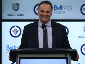 Former Winnipeg Jets great Dale Hawerchuk meets with the media before being inducted into the Jets Hall of Fame prior to its meeting with the Phoenix Coyotes in Winnipeg on Tues., Nov. 14, 2017.